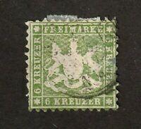 Wurttemberg stamp #32, used, 6kr. green, perf 10, 1862, SCV $160
