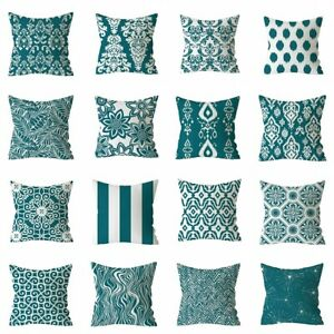 "Geometric Blue Green Printed Pillow Case Sofa Cushion Cover Home Decor 18""x18"""