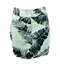 NAUTICA Womens L Skirt Tan Black White Tropical Palm Summer Swim Beach Cover up