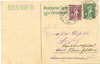 """SCHWEIZ """"TÄGERWILEN"""" grosse K2 1918 selt. Ortsstempel 2 x abgeschlagen 5 (C.) GA"""