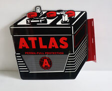 ATLAS BATTERY FLANGE DIECUT SIGN   Gas Station Auto Car  Modern Retro