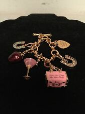 JUICY COUTURE CHARM BRACELET WITH 5 LIMITED EDITION CHARMS HORSESHOE STRAWBERRY!