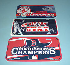 RED SOX WORLD SERIES CHAMP LICENSE PLATES 2007 2013 & 2004 AMERICAN LEAGUE CHAMP