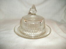 vintage ribbed glass butter dish