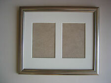 Silver Multi Aperture Double Frame for 2 7x5 Inch PICS Ivory Mount
