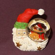"""Santa Claus Teddy Bear Mini Snow Globe 2"""" Christmas Figurine Moon Shape Resin"""