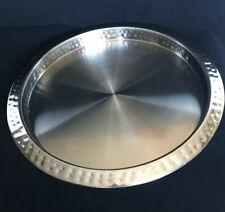 "Trudeau Stainless Steel 14"" Round Serving Tray Beverage Hammered 1"" Trim Premier"