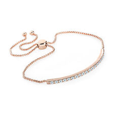 Ladies Rose Gold Coloured Crystal Chain Bracelet Fashion Jewellery Ladies Gift