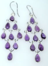 """Sterling 925 SILVER 3"""" Long Drop Amethyst Chandelier Earrings, Genuine Gemstones"""
