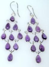 "Amethyst Chandelier Earrings 3"" Long Drop, Sterling SILVER Genuine Gemstones NEW"