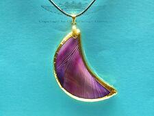Lederkette, Mond mit violetten Onyx, 24 Karat vergoldet, Goldrand, Edelstein,neu