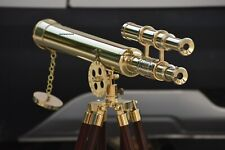"""18"""" Brass Marine Nautical Double Barrel Telescope Navy With Wooden Tripod Stand"""