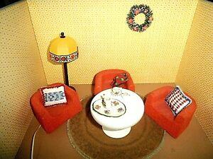 Puppenstuben- Puppenhaus - Bodo Hennig-1:10 -3 Panton Sessel mit Tisch -70 er