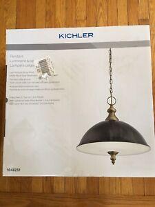 Kichler Matte Black, Antique Brass Pendant Light Modern/Contemporary Etched Glas