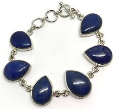 Real lapis lazuli gemstone bracelet, solid Sterling Silver, New actual one, pear