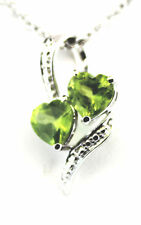 Hebei Peridot (Heart) Pendant w 20 in. Stainless Steel Chain, Sterling Silver