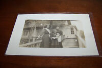 Rare Antique RPPC Real Photo Postcard AZO 1904-1918 Girl + Doll & House Ladies