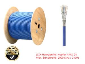 GigaBlue Cat 8.1 100m TWIN Ethernet Netzwerk Verlegekabel LSZH Halogenf.2000MHz