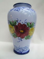 """A Colourful Blue Hand Painted 8"""" Portuguese Pottery Vase Portugal"""