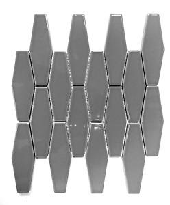Elongated Gray Hexagon Porcelain Mosaic Wall Tile Kitchen Backsplash Bath