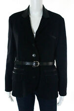 Christian Dior Black Wool 3 Pocket Button Down V Neck Blazer Size 10