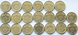 GERMAN 20x 10 REICHSPFENNIG 1937 - 1939 Brass SWASTIKA 3rd WW2 Coin Collection