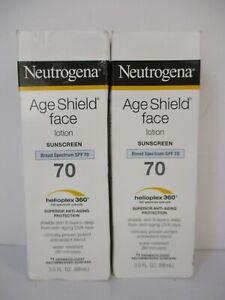 2 Neutrogena Age Shield Face Spf 70 Sunscreen Lotion 3 Oz Each Exp 8/22 JL 13395