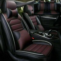US 5-Seats Car Seat Covers PU Leather+Comfort Mesh Cushion Front+Rear W/Pillows
