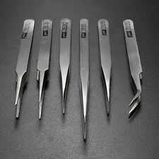 6Pcs Pro Anti-Static Stainless Steel Tweezers Set Maintenance Tools