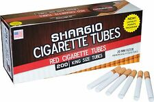 Shargio Red Filtered Regular Cigarette Tubes King 5 Boxes 200 Ct