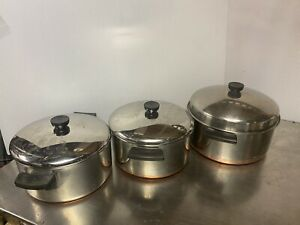 6 Pieces Copper Bottom Revere Ware 2-4 Qt & 1- 6 QT Pots / Stockpots With Lids