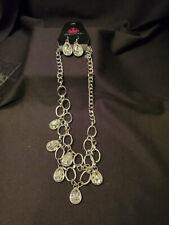 Paparazzi Silver Heavy Rhinestone Teardrop Necklace & Earrings Set (M1245)
