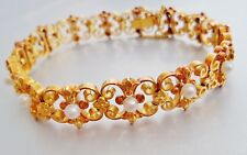B LUXUEUX BRACELET FEMME OR JAUNE 26GR 18KT PERLES PEARL GOLD VINTAGE ARMBAND