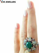 Turkish Traditional Jewelry 925 Silver Handmade Emerald Sultan Ring Size 8 R2417