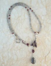 Labradorite Garnet Pendant Bali Sterling Hill Tribe Silver Necklace Sundance