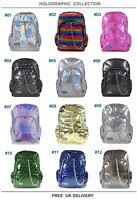 HOLOGRAPHIC Rave Backpack Rucksack School Check Goth Emo Skate Travel CHOK Bag
