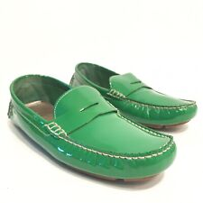 Cole Haan Driving Moc Mens 9 B Bright Green Shiny Leather Slip On Penny Loafers