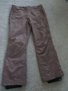 Women's COLUMBIA OmniTech Snow Pants NEW Brown Nylon Zip Snap Ankle Adj Waist L
