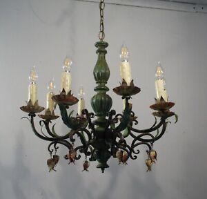 Antique Vintage Wood and Tole Metal Chandelier 8 Light Green Unique Mid Century