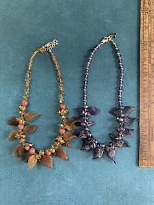 Vintage WOW 2 Glass Bead Leaf Necklaces Amber Goldstone & Amethyst #720