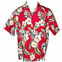 Vintage Howie Made in Hawaii Red Lotus Hibiscus Print Hawaiian Aloha Shirt XL