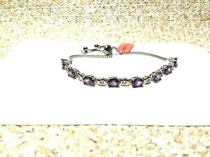 SIMULATED PURPLE & WHITE DIAMOND BOLO BRACELET IN STAINLESS STEEL 7.80 CTW