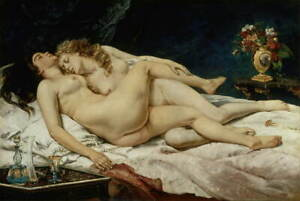 Gustave Courbet Sleep Poster Reproduction Paintings Giclee Canvas Print