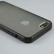 TPU Silicone Gel Soft Bumper Frame Case w/ Clear Hard Back for iPhone 5 5S Black