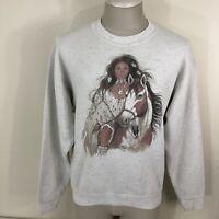 Vintage 90s ONEITA Indian Native American Beautiful Woman Sweatshirt Men's Large