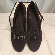 Coach Lidia Brown Suede Closed Toe Flats w/bow Accent- Size 7M - VGUC -