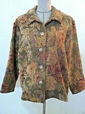 "XL X large Coldwater Creek women jacket thick ""tapestry"" floral beige pink size"