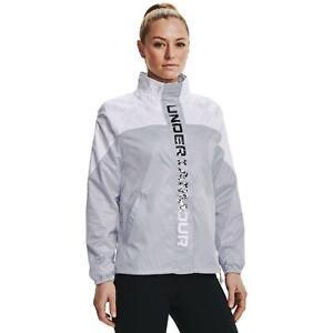 Under Armour Recover Woven Shine Jacket Women's Grey White Sportswear Windrunner