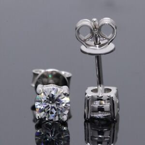 Charles&colvard D Colour FL Moissanite Solitaire Studs Earrings 2ct Pt950