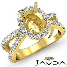 Unique Diamond Engagement Semi Mount 0.75Ct Ring 18k Yellow Gold Oval Halo Set